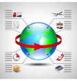 Logistics infographics with earth globe red arrow vector image vector image