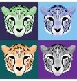Low poly cheetah set vector image vector image