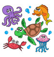 marine animals collection vector image