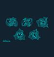 molecular grid 3d technology style with particle vector image vector image