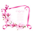nature background with blossom branch of magnolia vector image vector image
