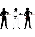 Nunchuck girl in uniform set of silhouettes vector image