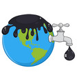 oil pouring over earth with faucet and petroleum vector image