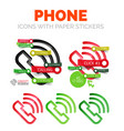 Old phone linear style icons 3d cut out vector image