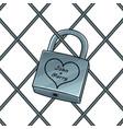 padlock with heart pop art vector image vector image