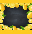 poster with blackboard and frame with lemons vector image