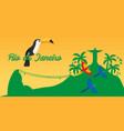rio de jeaneiro poster travel in brasil south vector image vector image