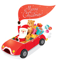 Santa Claus Driving Car With Reindeer vector image vector image