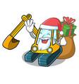santa with gift excavator mascot cartoon style vector image vector image