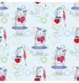 Seamless pattern Bunnies with Valentine hearts vector image vector image