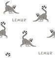 seamless pattern with cartoon lemurs vector image