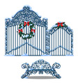 set of forged metal elements of fence and gate vector image vector image