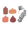 set striped vase isolated on white crockery vector image vector image