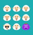 sheep set emotion avatar sad and angry face vector image vector image