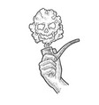 smoking pipe in hand sketch vector image