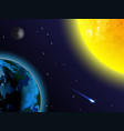 space background sun earth moon and comet vector image vector image