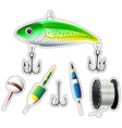 Sticker set of fishing equipment vector image vector image
