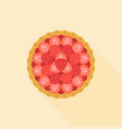 strawberry pie in aerial view flat design icon vector image vector image