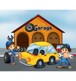 Two gentlemen with tools at the garage vector image vector image