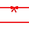 two red ribbon with christmas bow icon gift box vector image