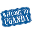 welcome to Uganda blue square grunge stamp vector image vector image