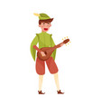 young medieval bard or minstrel playing musical