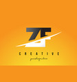 zf z f letter modern logo design with yellow vector image vector image