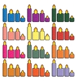 Set of Christmas icons candles in a simplified vector image