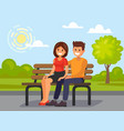 couple outdoors in the park sitting vector image