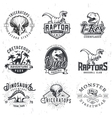 Set of Dino Logos T-rex skull t-shirt vector image