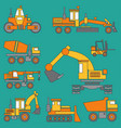 line color icon construction machinery set vector image