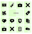 14 cross icons vector image vector image
