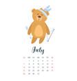 2019 cute teddy bear calendar vector image vector image