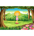 A jungle with a cute little girl vector image vector image