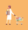 arabic man carrying shopping cart purchase paper vector image vector image