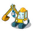 automotive excavator mascot cartoon style vector image
