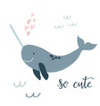 baprint with blue narwhal hand drawn graphic vector image