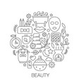 beauty cosmetics in circle - concept line vector image vector image