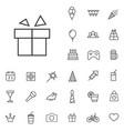 birthday outline thin flat digital icon set vector image vector image