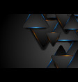black and glowing blue orange triangles abstract vector image vector image