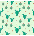 botanicals pattern cactus green background vector image vector image