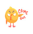 came out funny angry cartoon comic chicken vector image vector image