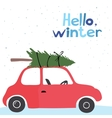 Card with a little red vintage car vector image vector image