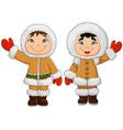 Cartoon happy Eskimo kids waving hand vector image