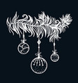 christmas decorative element hand drawn branch vector image