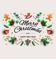 christmas greeting card with calligraphic season vector image vector image