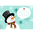 Christmas happy snowman greeting card background vector image