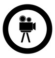 cinematograph the black color icon in circle or vector image vector image