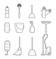 Cleaning Home Appliances Outline Icons Set vector image