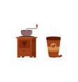 coffee making set takeaway coffee cup and grinder vector image